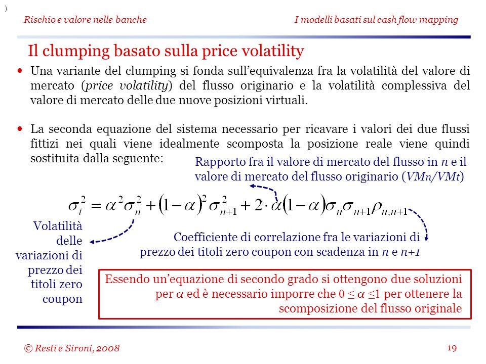 Rischio e valore nelle bancheI modelli basati sul cash flow mapping 19 Una variante del clumping si fonda sull'equivalenza fra la volatilità del valor