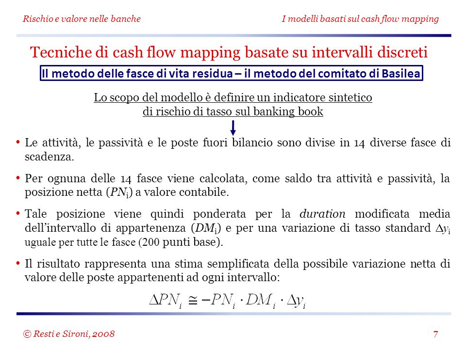 Rischio e valore nelle bancheI modelli basati sul cash flow mapping 8 Tecniche di cash flow mapping basate su intervalli discreti Il metodo delle fasce di vita residua – il metodo del comitato di Basilea Fascia temporaleScadenza media (D i ) Duration modificata DM i = D i /(1+5%) Fattore di ponderazione DM i  y i (con  y i =2%) a vista e revoca000,00 % fino a 1 mese0,5 mesi0,04 anni0,08 % da oltre 1 mese a 3 mesi2 mesi0,16 anni0,32 % da oltre 3 mesi a 6 mesi4,5 mesi0,36 anni0,72 % da oltre 6 mesi a 1 anno9 mesi0,71 anni1,43 % da oltre 1 anno a 2 anni1,5 anni1,38 anni2,77 % da oltre 2 anni a 3 anni2,5 anni2,25 anni4,49 % da oltre 3 anni a 4 anni3,5 anni3,07 anni6,14 % da oltre 4 anni a 5 anni4,5 anni3,85 anni7,71 % da oltre 5 anni a 7 anni6 anni5,08 anni10,15 % da oltre 7 anni a 10 anni8,5 anni6,63 anni13,26 % da oltre 10 anni a 15 anni12,5 anni8,92 anni17,84 % da oltre 15 anni a 20 anni17,5 anni11,21 anni22,43 % oltre 20 anni22,5 anni13,01 anni26,03 % © Resti e Sironi, 2008