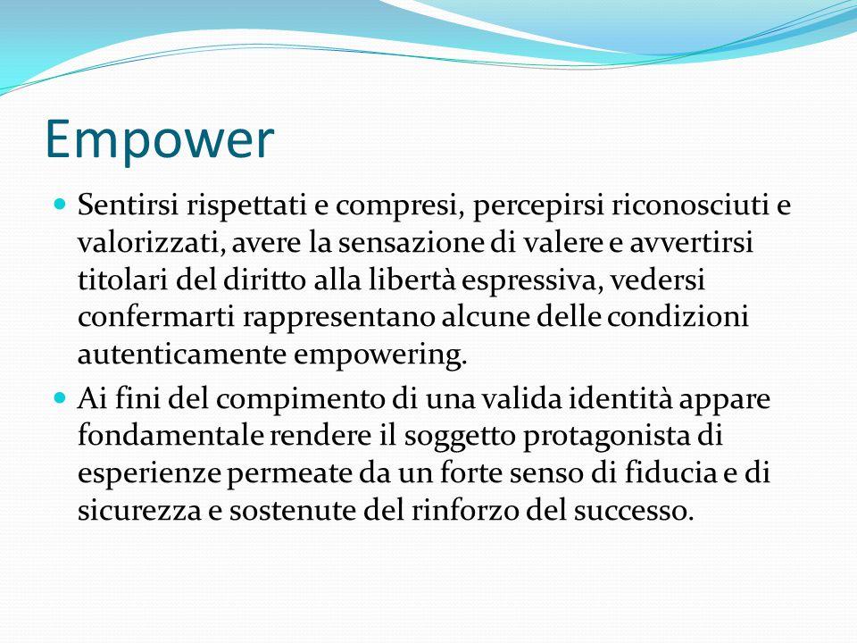 Empower Sentirsi rispettati e compresi, percepirsi riconosciuti e valorizzati, avere la sensazione di valere e avvertirsi titolari del diritto alla li