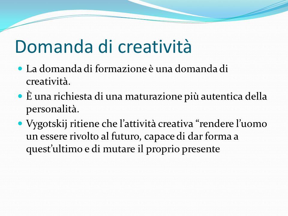 Domanda di creatività La domanda di formazione è una domanda di creatività. È una richiesta di una maturazione più autentica della personalità. Vygots