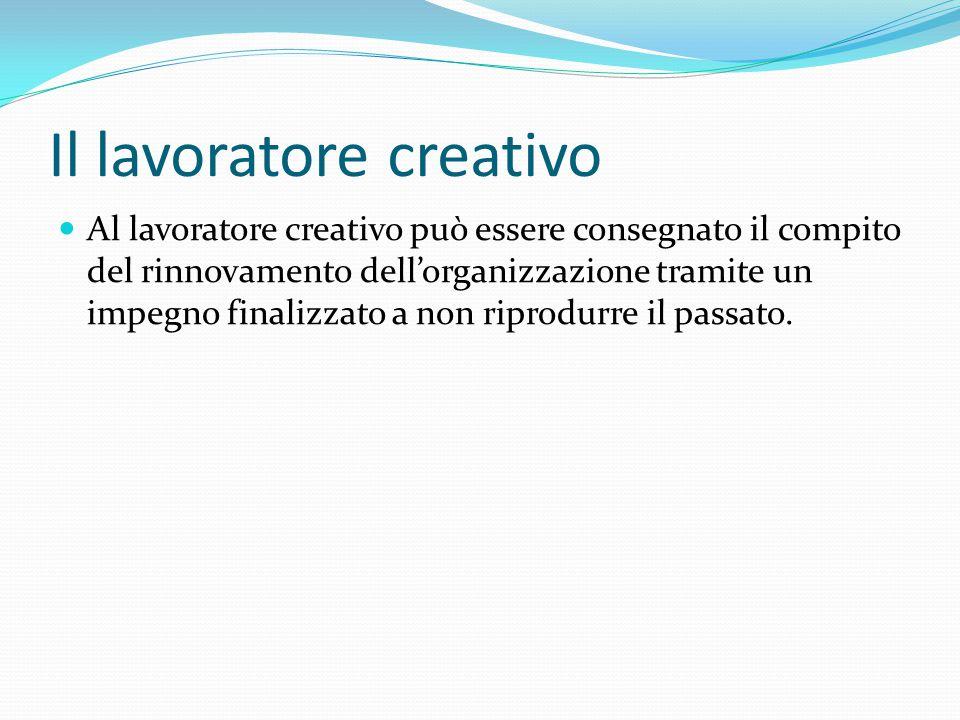 Il lavoratore creativo Al lavoratore creativo può essere consegnato il compito del rinnovamento dell'organizzazione tramite un impegno finalizzato a n