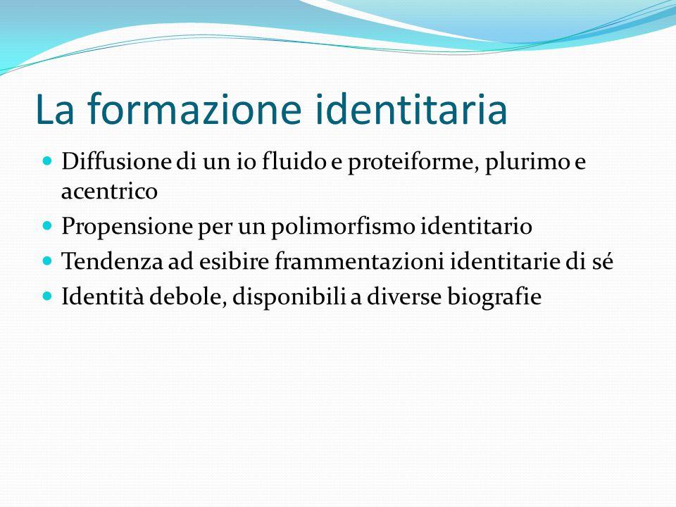 La formazione identitaria Diffusione di un io fluido e proteiforme, plurimo e acentrico Propensione per un polimorfismo identitario Tendenza ad esibir