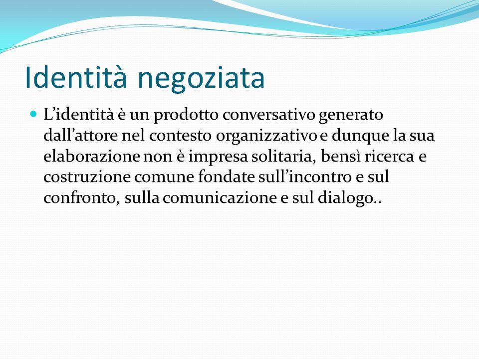 Identità negoziata L'identità è un prodotto conversativo generato dall'attore nel contesto organizzativo e dunque la sua elaborazione non è impresa so