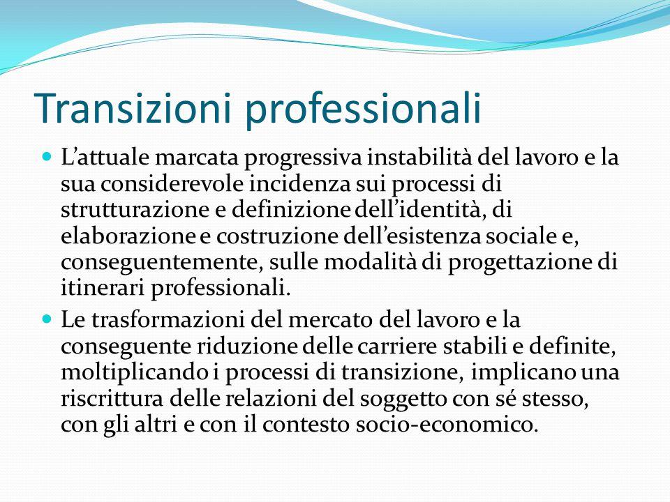 Transizioni professionali L'attuale marcata progressiva instabilità del lavoro e la sua considerevole incidenza sui processi di strutturazione e defin