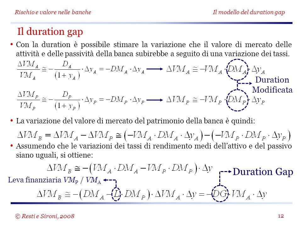 Rischio e valore nelle bancheIl modello del duration gap 12 Con la duration è possibile stimare la variazione che il valore di mercato delle attività