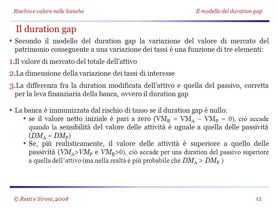 Rischio e valore nelle bancheIl modello del duration gap 13 Secondo il modello del duration gap la variazione del valore di mercato del patrimonio conseguente a una variazione dei tassi è una funzione di tre elementi: 1.