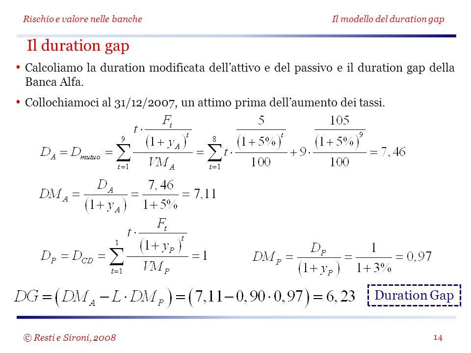 Rischio e valore nelle bancheIl modello del duration gap 14 Calcoliamo la duration modificata dell'attivo e del passivo e il duration gap della Banca