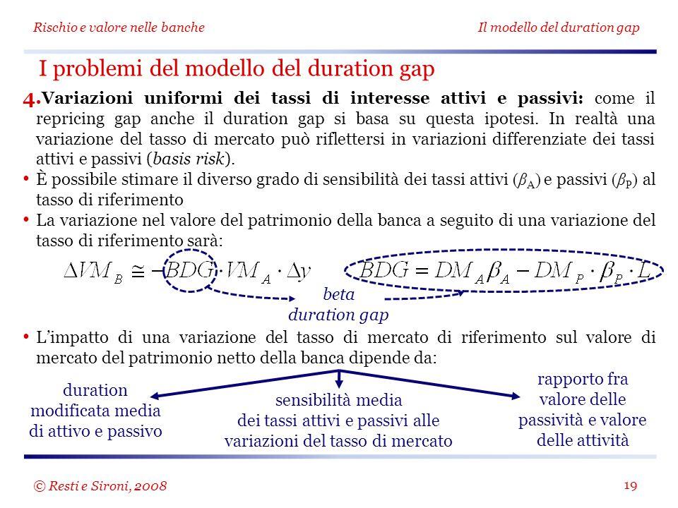 Rischio e valore nelle bancheIl modello del duration gap 19 4.