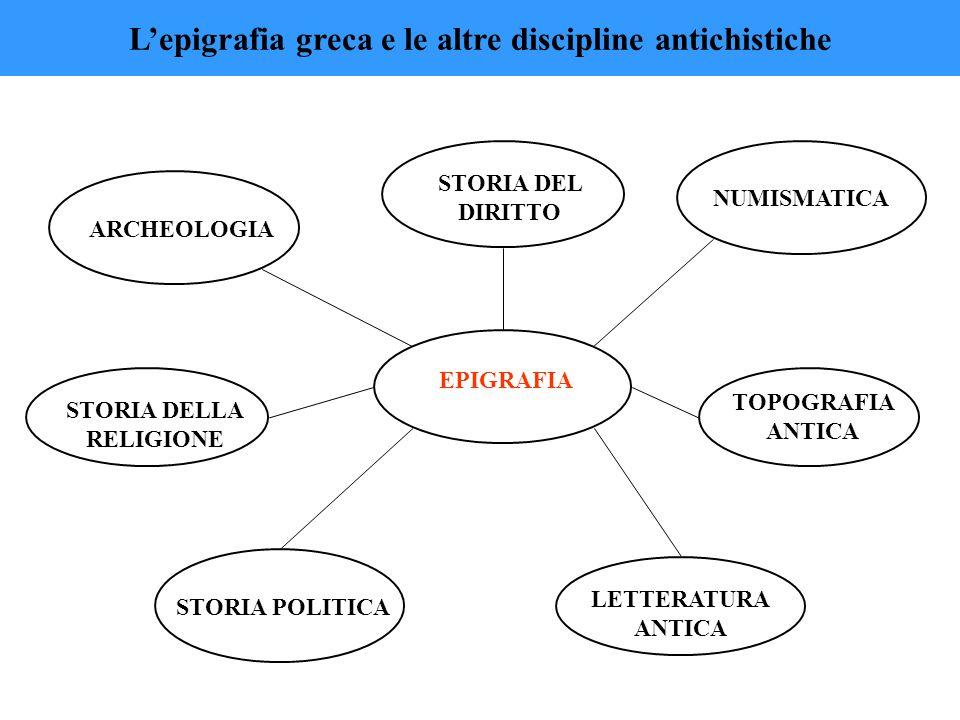 EPIGRAFIA ARCHEOLOGIA NUMISMATICA LETTERATURA ANTICA STORIA POLITICA STORIA DELLA RELIGIONE TOPOGRAFIA ANTICA STORIA DEL DIRITTO L'epigrafia greca e l