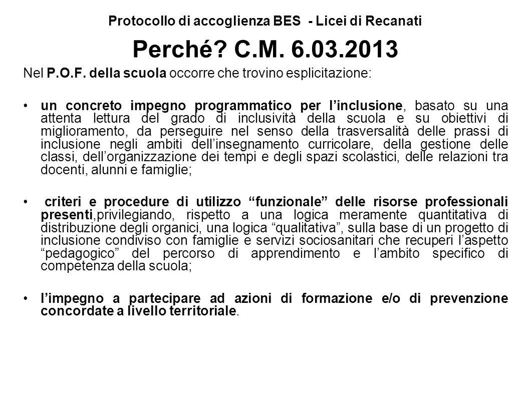 Protocollo di accoglienza BES - Licei di Recanati Perché? C.M. 6.03.2013 Nel P.O.F. della scuola occorre che trovino esplicitazione: un concreto impeg