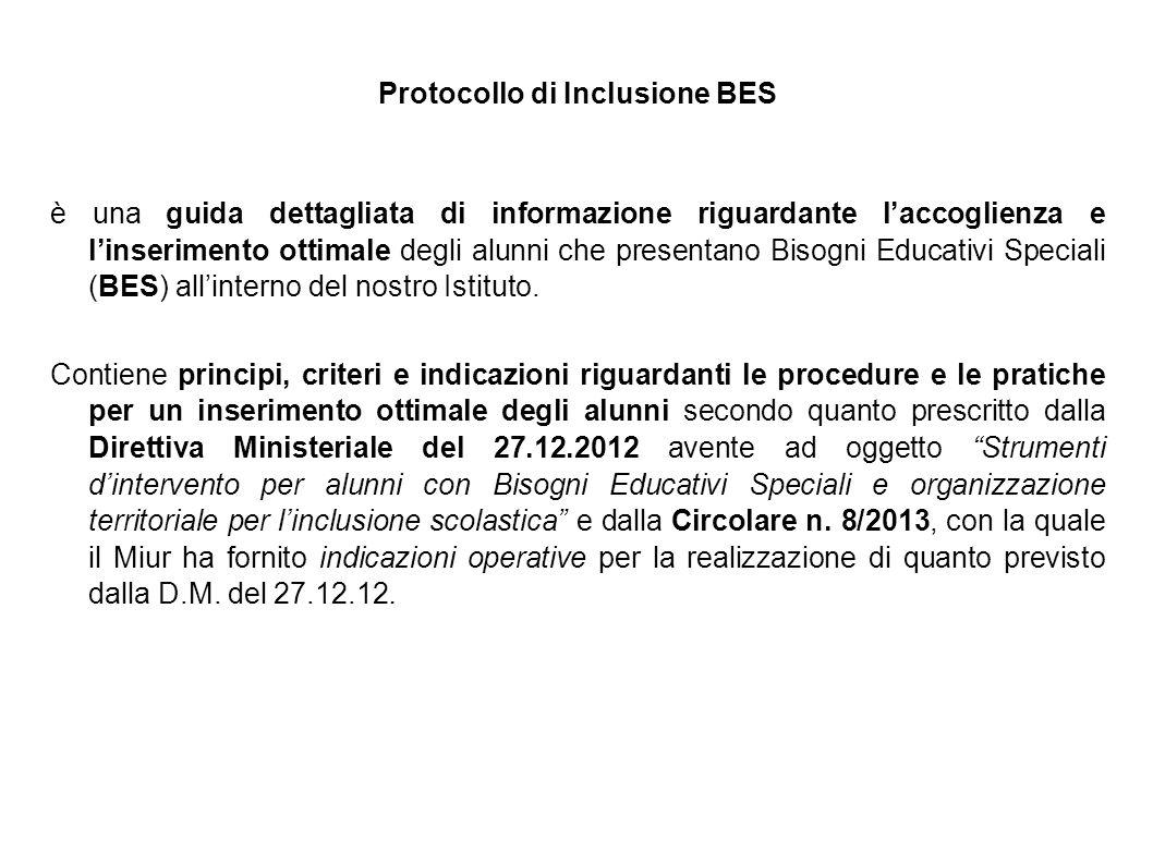 Protocollo di Inclusione BES è una guida dettagliata di informazione riguardante l'accoglienza e l'inserimento ottimale degli alunni che presentano Bi