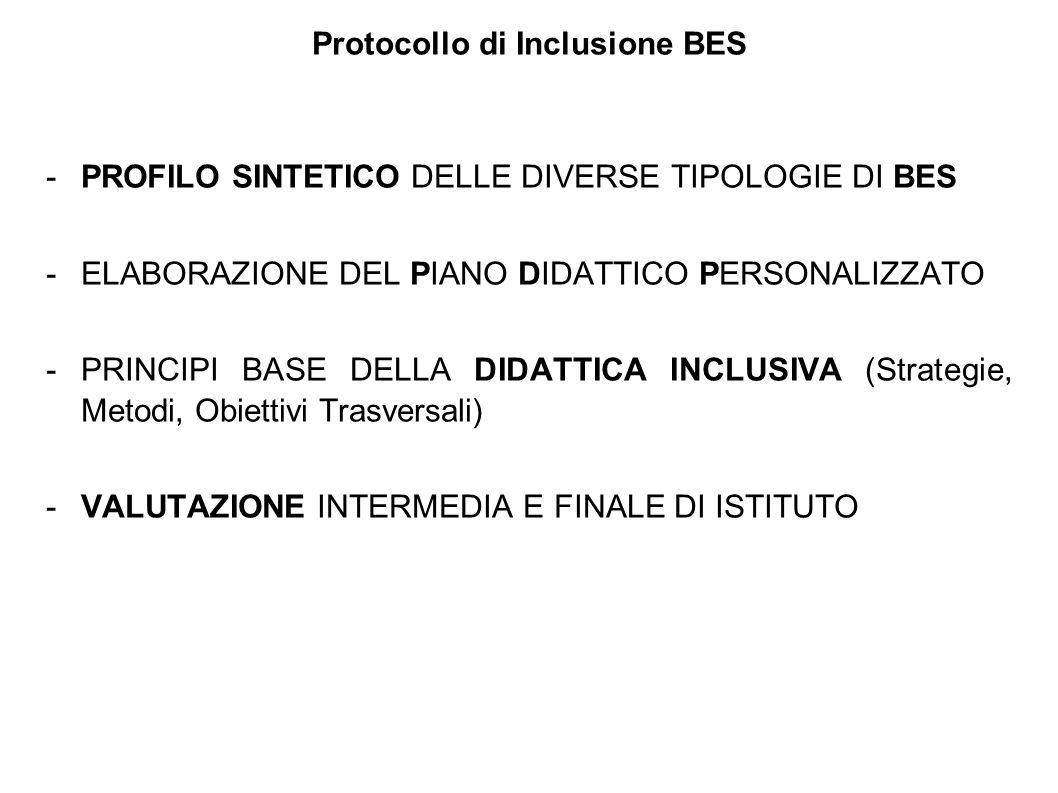 Protocollo di Inclusione BES -PROFILO SINTETICO DELLE DIVERSE TIPOLOGIE DI BES -ELABORAZIONE DEL PIANO DIDATTICO PERSONALIZZATO -PRINCIPI BASE DELLA D
