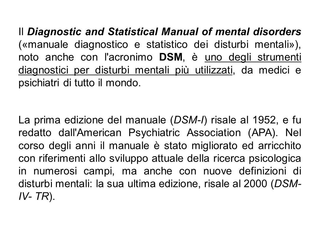 Il Diagnostic and Statistical Manual of mental disorders («manuale diagnostico e statistico dei disturbi mentali»), noto anche con l'acronimo DSM, è u