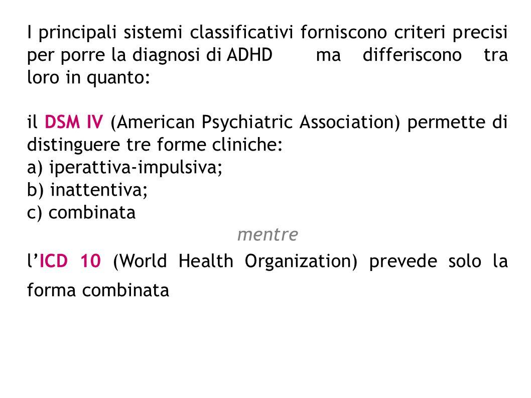 I principali sistemi classificativi forniscono criteri precisi per porre la diagnosi di ADHD ma differiscono tra loro in quanto: il DSM IV (American P