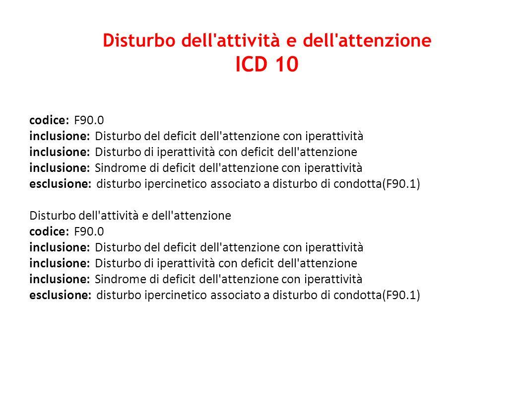 codice: F90.0 inclusione: Disturbo del deficit dell'attenzione con iperattività inclusione: Disturbo di iperattività con deficit dell'attenzione inclu