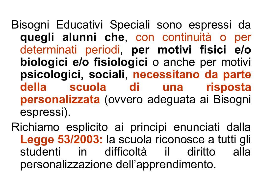 Bisogni Educativi Speciali sono espressi da quegli alunni che, con continuità o per determinati periodi, per motivi fisici e/o biologici e/o fisiologi