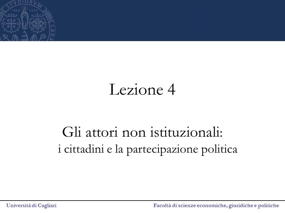 Università di Cagliari Facoltà di scienze economiche, giuridiche e politiche Lezione 4 Gli attori non istituzionali : i cittadini e la partecipazione politica