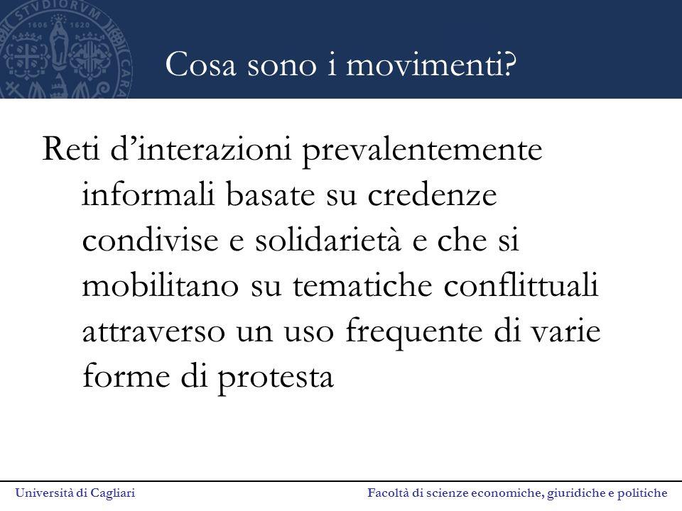 Università di Cagliari Facoltà di scienze economiche, giuridiche e politiche Cosa sono i movimenti.