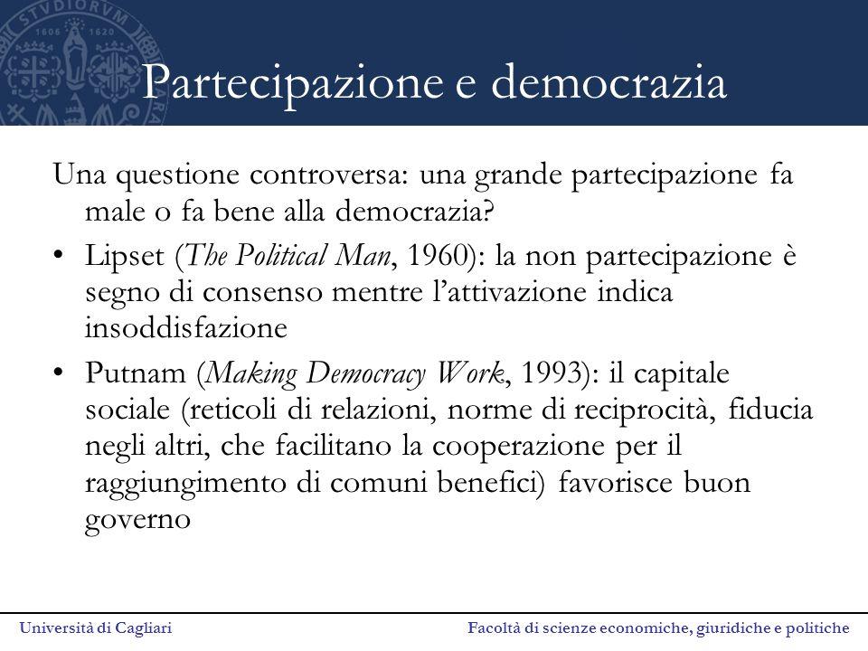 Università di Cagliari Facoltà di scienze economiche, giuridiche e politiche Partecipazione e democrazia Una questione controversa: una grande partecipazione fa male o fa bene alla democrazia.