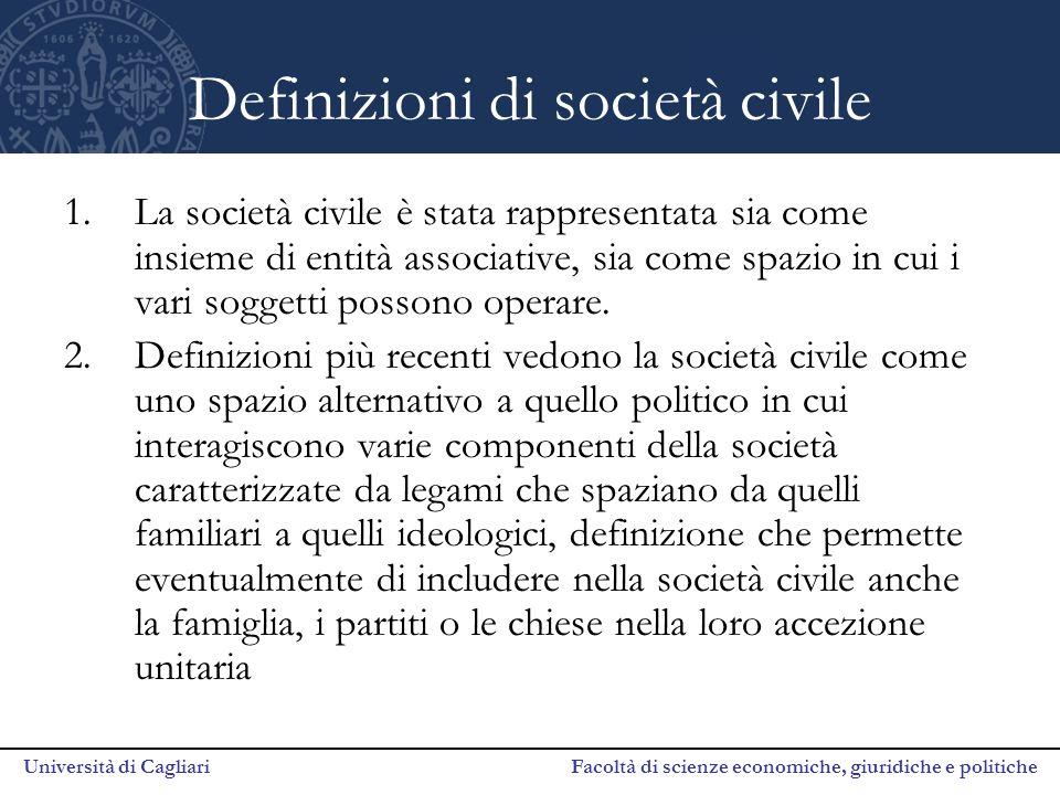 Università di Cagliari Facoltà di scienze economiche, giuridiche e politiche Definizioni di società civile 1.La società civile è stata rappresentata sia come insieme di entità associative, sia come spazio in cui i vari soggetti possono operare.