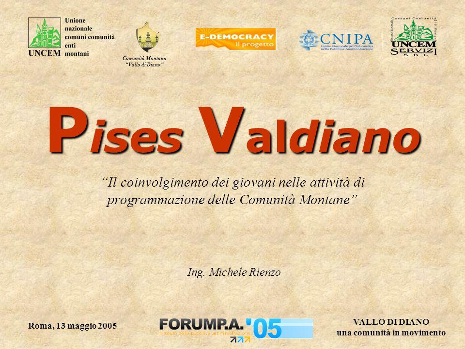 Comunità Montana Vallo di Diano VALLO DI DIANO una comunità in movimento Roma, 13 maggio 2005 P ises V aldiano Il coinvolgimento dei giovani nelle attività di programmazione delle Comunità Montane Ing.