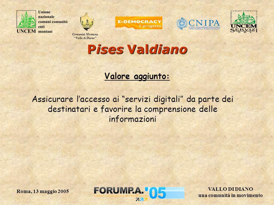 Comunità Montana Vallo di Diano VALLO DI DIANO una comunità in movimento Roma, 13 maggio 2005 Pises Valdiano Valore aggiunto: Assicurare l'accesso ai servizi digitali da parte dei destinatari e favorire la comprensione delle informazioni