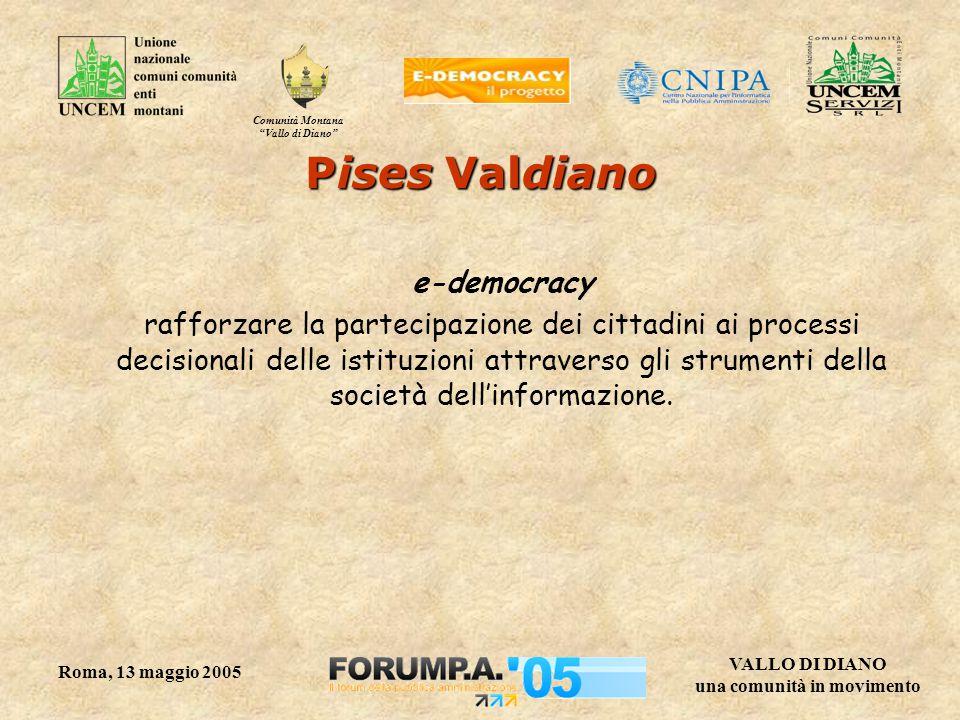 Comunità Montana Vallo di Diano VALLO DI DIANO una comunità in movimento Roma, 13 maggio 2005 Pises Valdiano e-democracy rafforzare la partecipazione dei cittadini ai processi decisionali delle istituzioni attraverso gli strumenti della società dell'informazione.
