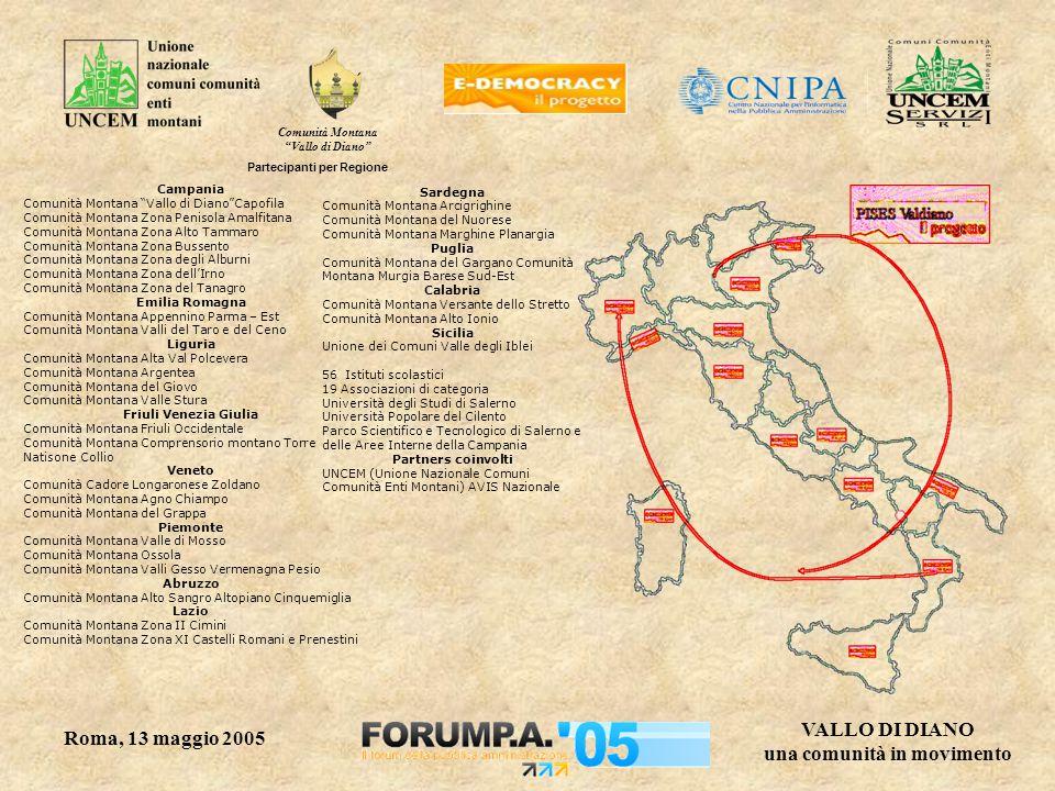 Comunità Montana Vallo di Diano VALLO DI DIANO una comunità in movimento Roma, 13 maggio 2005 Presenza di nuove tecnologie negli istituti scolastici L'85% delle scuole italiane è dotata di una connessione ad internet; 23.000 laboratori di informatica; 1 pc per ogni 10 studenti.