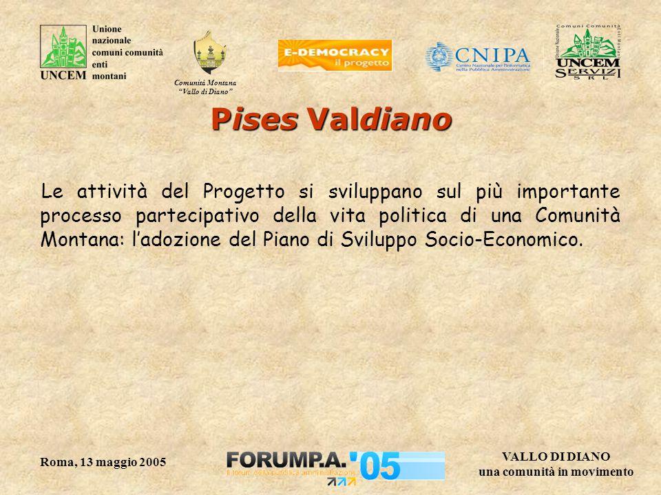 """Comunità Montana """"Vallo di Diano"""" VALLO DI DIANO una comunità in movimento Roma, 13 maggio 2005 Pises Valdiano Le attività del Progetto si sviluppano"""