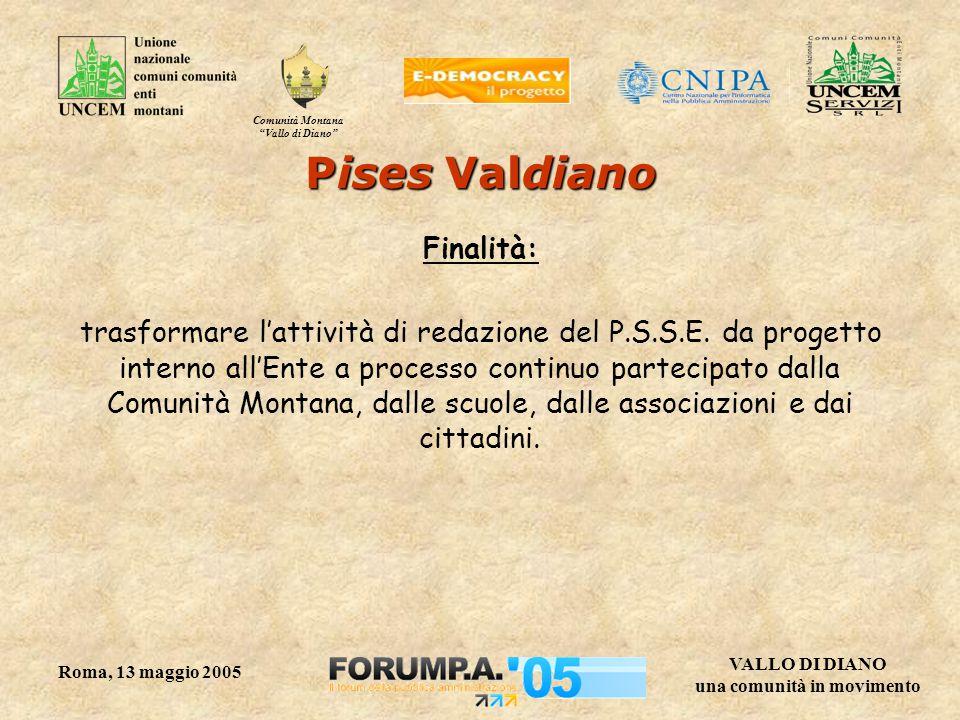Comunità Montana Vallo di Diano VALLO DI DIANO una comunità in movimento Roma, 13 maggio 2005 Pises Valdiano Finalità: trasformare l'attività di redazione del P.S.S.E.