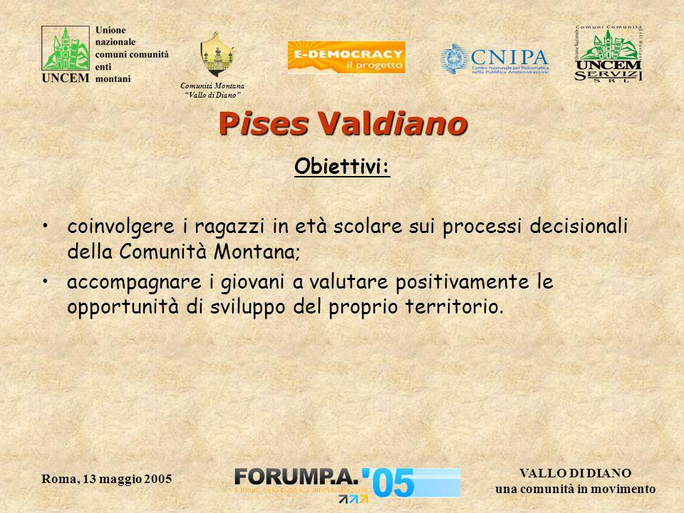 """Comunità Montana """"Vallo di Diano"""" VALLO DI DIANO una comunità in movimento Roma, 13 maggio 2005 Pises Valdiano Obiettivi: coinvolgere i ragazzi in età"""
