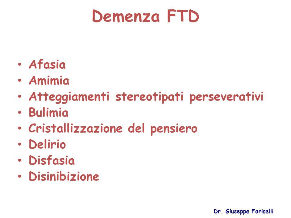 Demenza FTD Afasia Amimia Atteggiamenti stereotipati perseverativi Bulimia Cristallizzazione del pensiero Delirio Disfasia Disinibizione Dr. Giuseppe