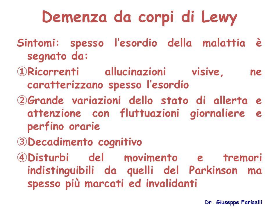 Demenza da corpi di Lewy Sintomi: spesso l'esordio della malattia è segnato da: ① Ricorrenti allucinazioni visive, ne caratterizzano spesso l'esordio