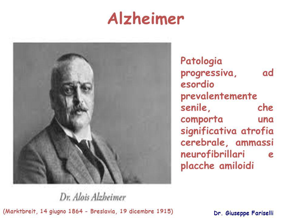 Alzheimer Dr. Giuseppe Fariselli Patologia progressiva, ad esordio prevalentemente senile, che comporta una significativa atrofia cerebrale, ammassi n
