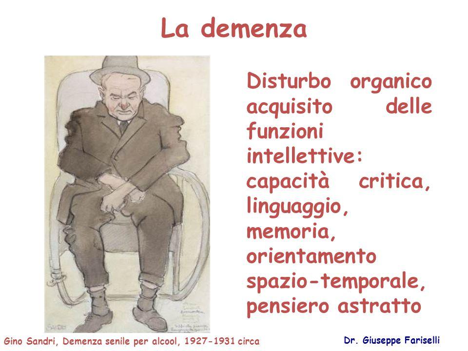 La demenza Dr. Giuseppe Fariselli Disturbo organico acquisito delle funzioni intellettive: capacità critica, linguaggio, memoria, orientamento spazio-