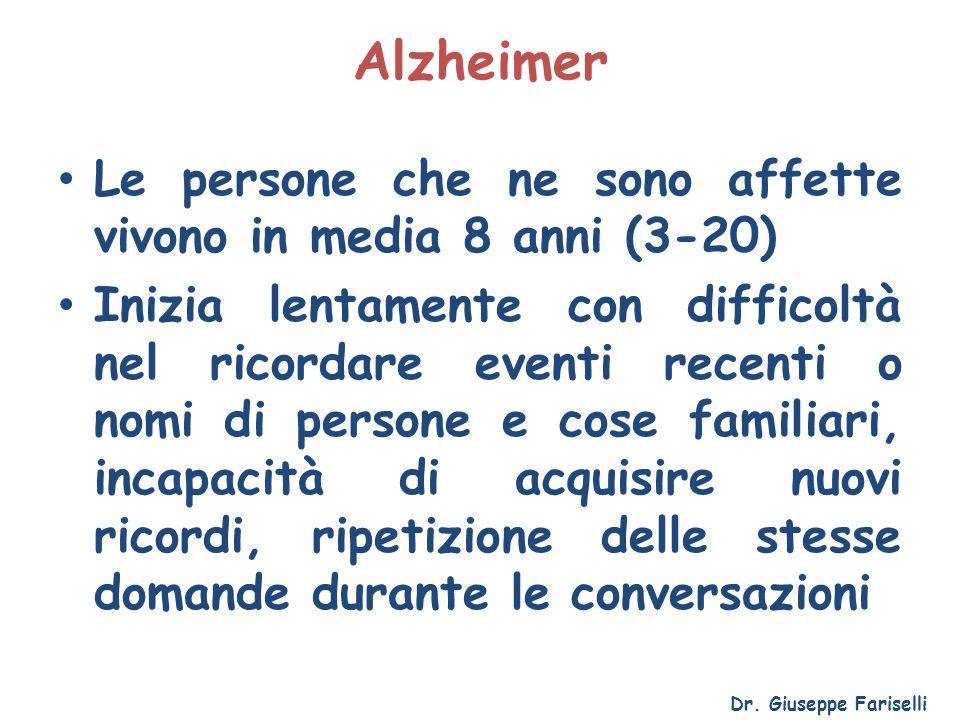 Alzheimer Le persone che ne sono affette vivono in media 8 anni (3-20) Inizia lentamente con difficoltà nel ricordare eventi recenti o nomi di persone