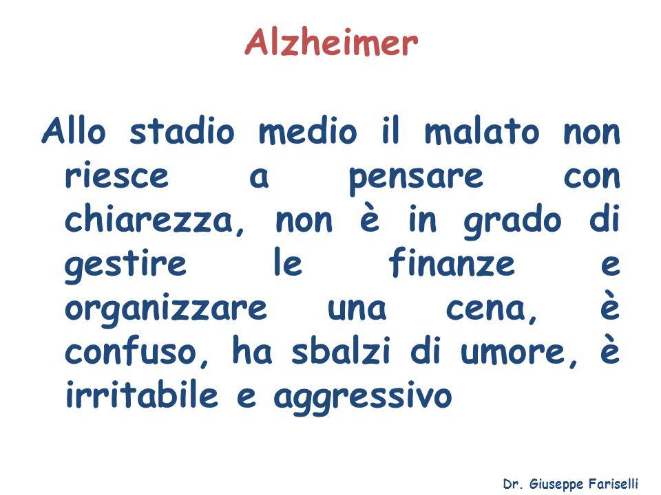 Alzheimer Allo stadio medio il malato non riesce a pensare con chiarezza, non è in grado di gestire le finanze e organizzare una cena, è confuso, ha s