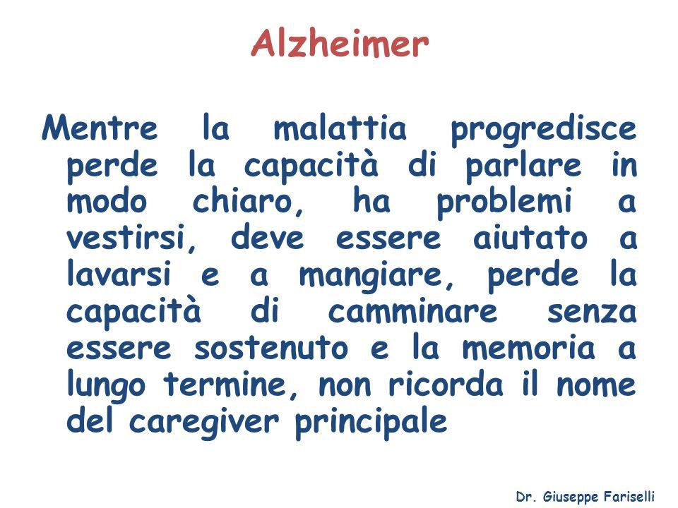 Alzheimer Mentre la malattia progredisce perde la capacità di parlare in modo chiaro, ha problemi a vestirsi, deve essere aiutato a lavarsi e a mangia
