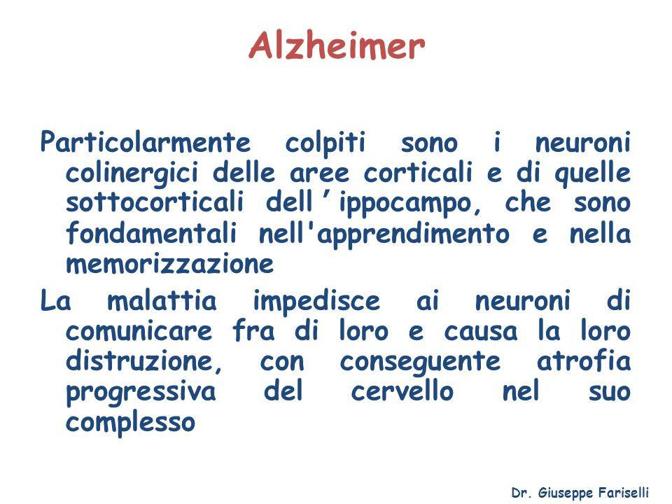 Alzheimer Particolarmente colpiti sono i neuroni colinergici delle aree corticali e di quelle sottocorticali dell'ippocampo, che sono fondamentali nel
