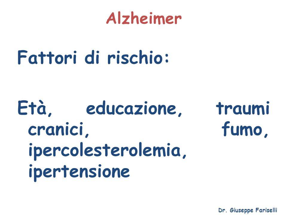 Alzheimer Fattori di rischio: Età, educazione, traumi cranici, fumo, ipercolesterolemia, ipertensione Dr. Giuseppe Fariselli