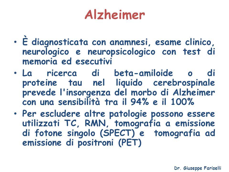 Alzheimer È diagnosticata con anamnesi, esame clinico, neurologico e neuropsicologico con test di memoria ed esecutivi La ricerca di beta-amiloide o d