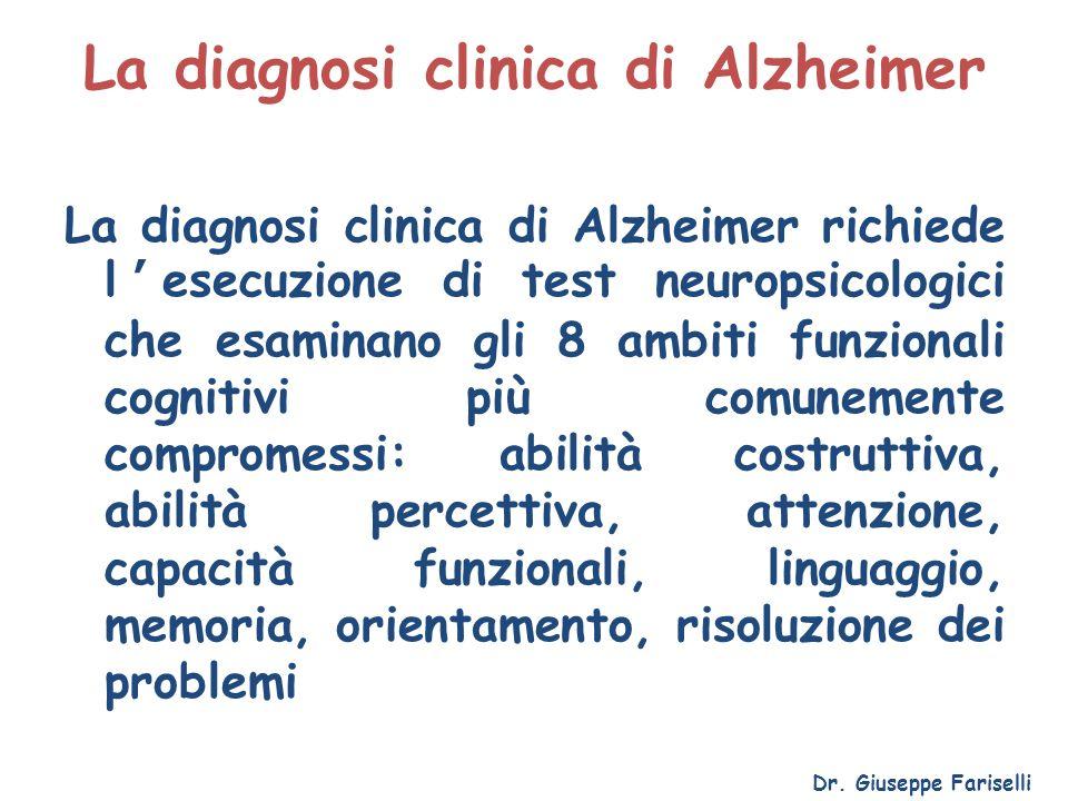 La diagnosi clinica di Alzheimer La diagnosi clinica di Alzheimer richiede l'esecuzione di test neuropsicologici che esaminano gli 8 ambiti funzionali