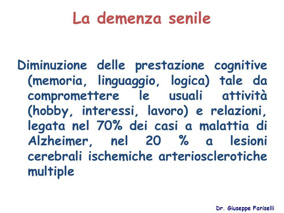 La demenza senile Dr. Giuseppe Fariselli Diminuzione delle prestazione cognitive (memoria, linguaggio, logica) tale da compromettere le usuali attivit