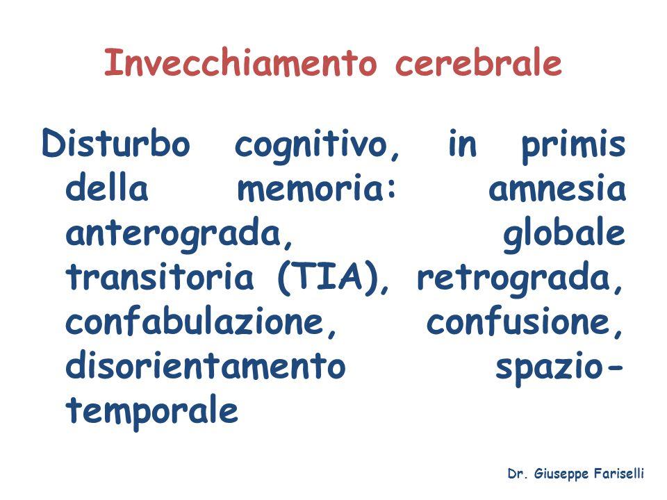 Invecchiamento cerebrale Disturbo cognitivo, in primis della memoria: amnesia anterograda, globale transitoria (TIA), retrograda, confabulazione, conf