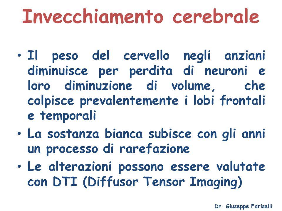 Invecchiamento cerebrale Dr. Giuseppe Fariselli Il peso del cervello negli anziani diminuisce per perdita di neuroni e loro diminuzione di volume, che
