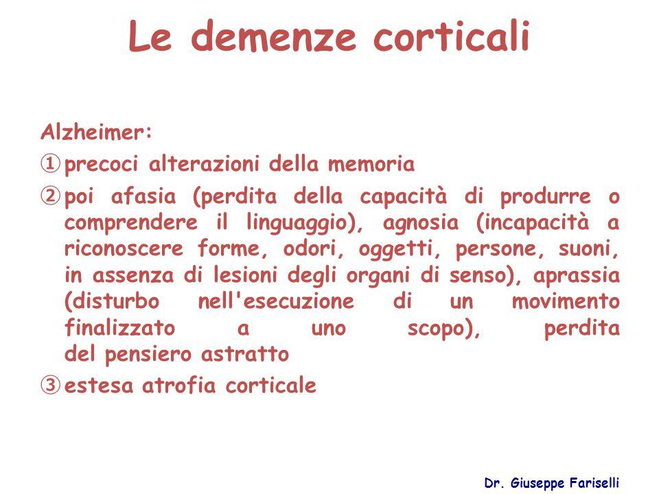 Le demenze corticali Dr. Giuseppe Fariselli Alzheimer: ① precoci alterazioni della memoria ② poi afasia (perdita della capacità di produrre o comprend