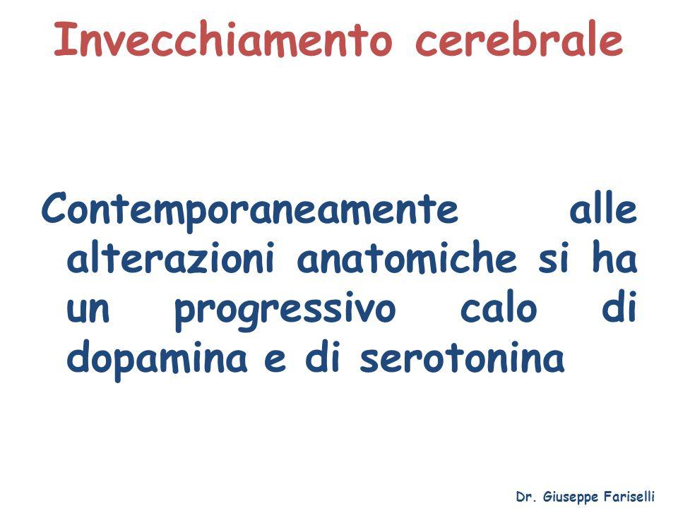 Invecchiamento cerebrale Dr. Giuseppe Fariselli Contemporaneamente alle alterazioni anatomiche si ha un progressivo calo di dopamina e di serotonina