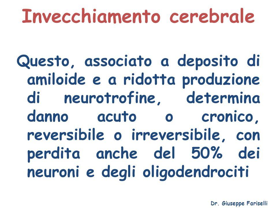 Invecchiamento cerebrale Dr. Giuseppe Fariselli Questo, associato a deposito di amiloide e a ridotta produzione di neurotrofine, determina danno acuto