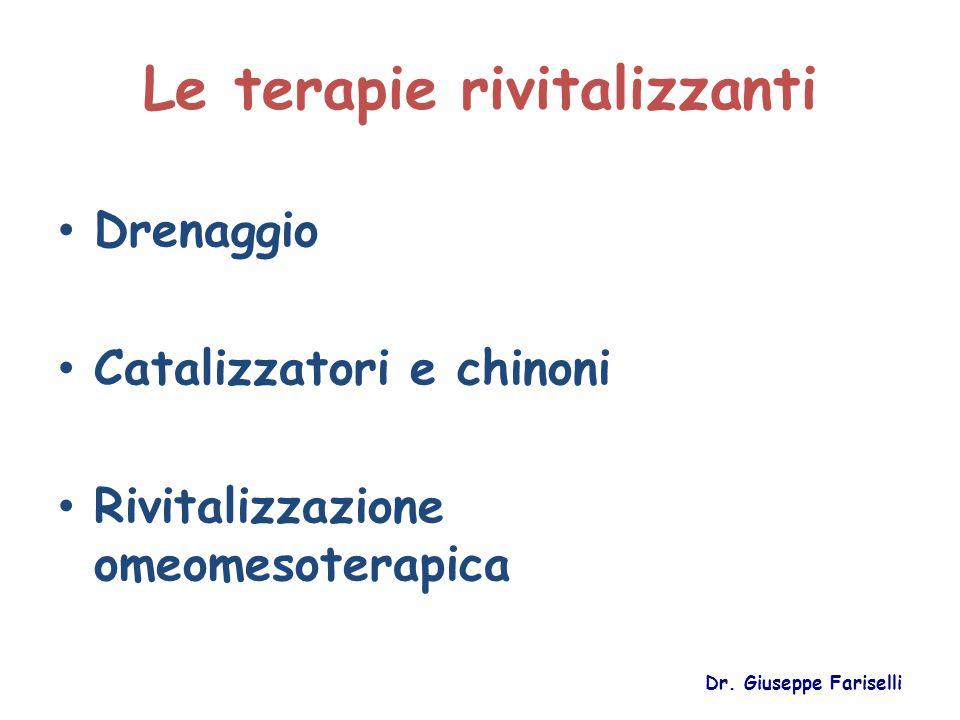 Le terapie rivitalizzanti Drenaggio Catalizzatori e chinoni Rivitalizzazione omeomesoterapica Dr. Giuseppe Fariselli