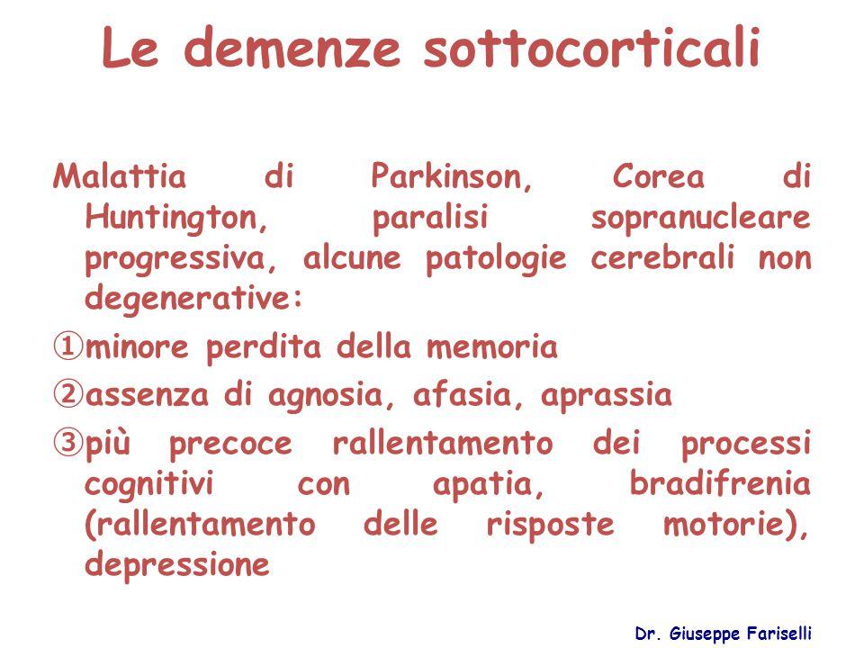 Le demenze sottocorticali Dr. Giuseppe Fariselli Malattia di Parkinson, Corea di Huntington, paralisi sopranucleare progressiva, alcune patologie cere